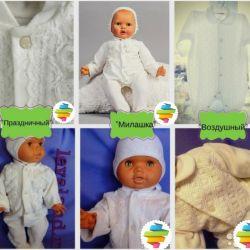 Хлопковые комбинезоны с чепчиком малышам (0-3мес)