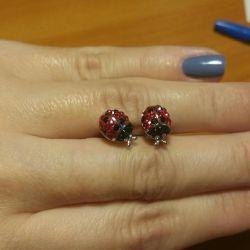 Серьги пусеты, серебро/камни сваровски(новые)💎👑