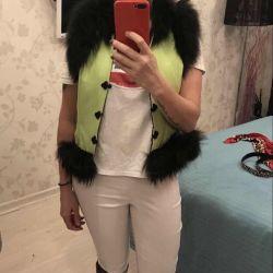 New designer vest with fox fur 44-46