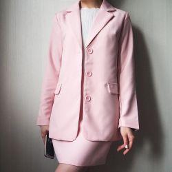Κοστούμι, σακάκι και φούστα, ροζ