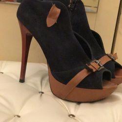 Doğal DERİ Açık burunlu ayakkabılar.