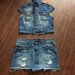 Denim skirt and jeans jacket, suit, complement