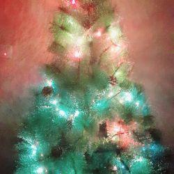Fluffy artificial Christmas tree