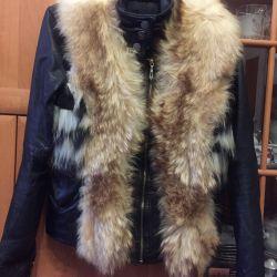 Leather jacket + fur fox vest 42 size women