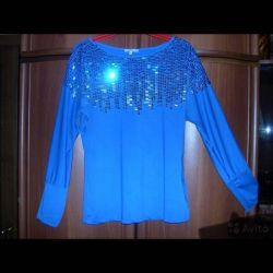 Blouse new blue With sequins 48 50