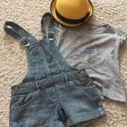 Σορτς τζιν παντελόνι + μπλουζάκι 6-7L
