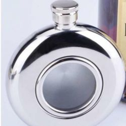 Stainless steel flask round with window
