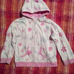 3-4 g, 98-104 cm çiçekli bir kız için sweatshirt