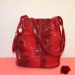 New red leather bag comes in A4 folder