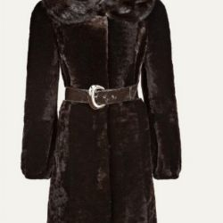Mouton fur coat with mink