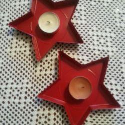 2 suporturi noi de lumânare (stele metalice)