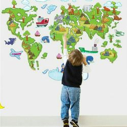 World map interior stickers