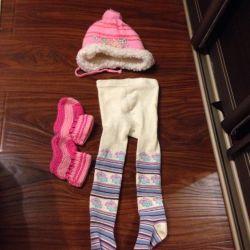 Hat, tights, socks 3-6 months