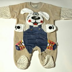 Overalls with a dog velor 56,62,68
