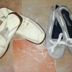 Δύο ζευγάρια παπουτσιών (makasiny) r. 36 δώστε ένα μάτσο