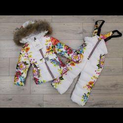 Costum de costum pentru copii iarnă Moncler cu flori