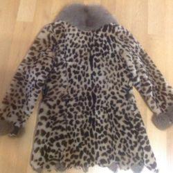 Mouton fur coat with fox fur