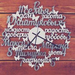 Часы из дерева. слова, дизайн и цвета любые.