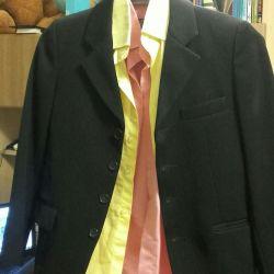 Лот: Пиджак, жилетка и рубашки для второклашки ))