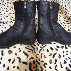 Natural leather and natural fur half boots 39 size