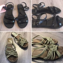 Top Shop Slippers Gold and Black Sandals