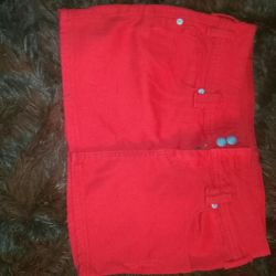 New short denim skirt.