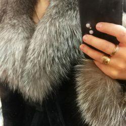 Φυσικό γούνινο παλτό Mouton με αρκτική αλεπού