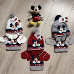 Hat Mittens Scarf with Mickey Mouse