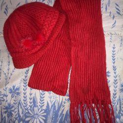 vizör ve eşarp ile sıcak kış şapka