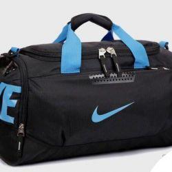 Nike Sports Bag Black with Blue Logo