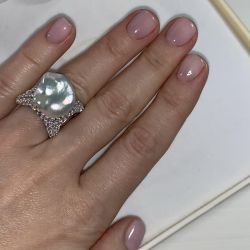 Silver ring with baroque pearls