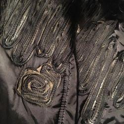 Куртка дизайнерская с вышивкой из кожи