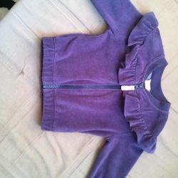 Bir kız için kot pantolon ve bluz kadife