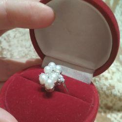 Inel de argint cu perle