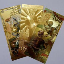Set of 3 gold banknotes