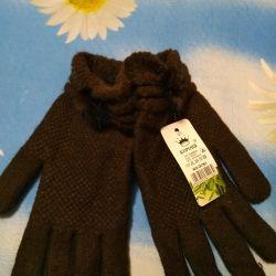 Шерстяные перчатки с норкой
