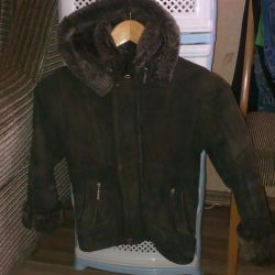 Natural sheepskin coat for a boy of 4-7 years old