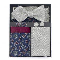 Set of bow tie, scarf, cufflinks