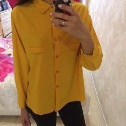 Новая рубашка горчичного цвета 42-44 раз