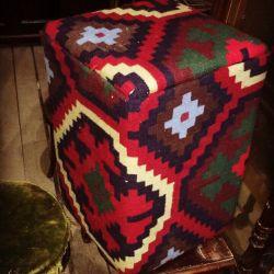 Oriental ottoman from vintage kilim carpet