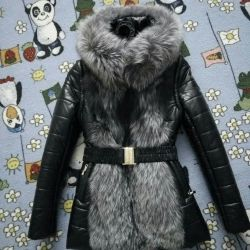 Leather jacket with silver fox 2in1