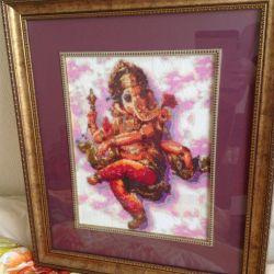 Imagine brodată a dansului Ganesh