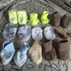 Knitted socks, booties for the little ones.