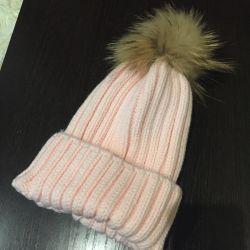 Hat women new pompom natural fox