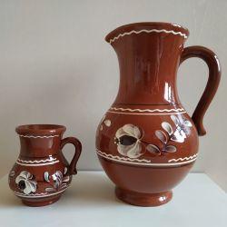 Clay jug with a USSR mug