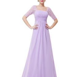 New lilac dress with lace sleeves