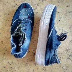 Sneakers denim wedges