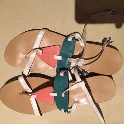 White sandals, leather