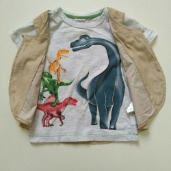 Children's T-shirt with a vest. New