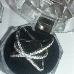 Silver with cubic zirconia.